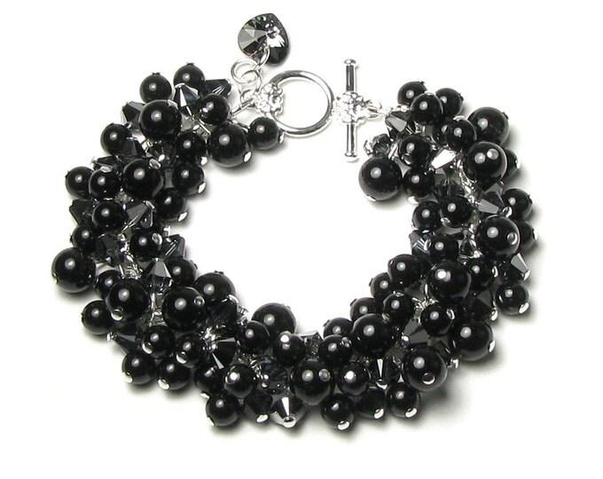 Black Swarovski Crystal Pearl Cluster Silver Bracelet Romantic Heart Charm Sexy Little Black Dress Jewelry Elegant Noir Bride Gift For Women