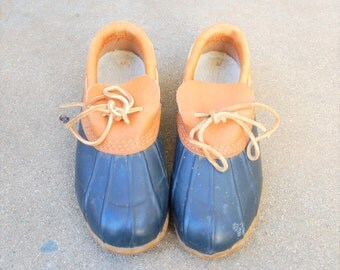 Vintage Womens 5 Eddie Bauer USA Leather Rubber Rain Snow Ducky Duckie Duck Boots Bootie Shoes Blue Tan Preppy Hipster Boho Spring Fashion