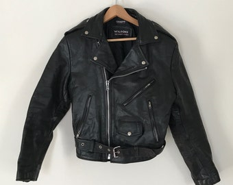 vintage black leather Wilsons motorcycle jacket S