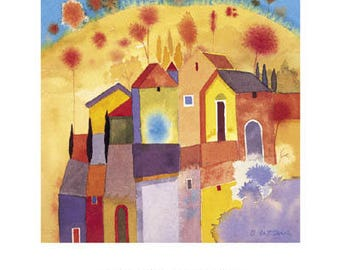 Hilltop Village - Contemporary Art Poster Print from an Original Watercolour - Rare - Hand Signed in Pencil by the artist Giuliana Lazzerini