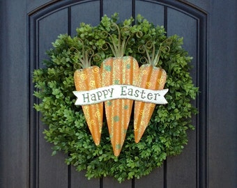 Spring Wreath- Summer Wreath- Grapevine Door Wreath Decor-Easter-Carrots-Boxwood Door-Indoor/Outdoor Decor-Two In One Wreath-Removeable Sign