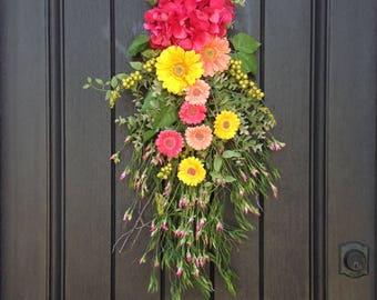 "Spring Wreath Summer Wreath Teardrop Door Swag Vertical Decor...""Spring Daisies"""