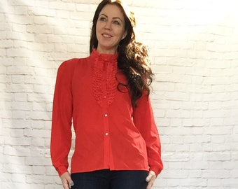 Vintage 80s Vivid Red Lace Tuxedo Ruffled Blouse Top L High Collar Long Sleeve Retro Victorian