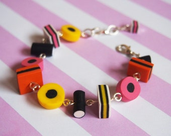 Liquorice Allsorts Bracelet ( licorice allsorts food bracelet candy bracelet cute bracelet gift for girl polymer clay jewelry colorful )