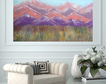 MADE TO ORDER: Colorado Prarie Pastel Large Room Art Textured Mountain Prarie Landscape by MyImaginationIsYours