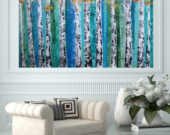 READY TO SHIP: 24x36 Spring-Fall-Autumn Modern Aspen Birch Tree Nature Forest Woodland Metallic Blue Emerald Teal Original Painting