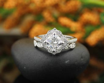 Forever Moissanite Engagement Ring Set,  Diamond Wedding Set Vintage Floral art deco  Ring Set In 14k White Gold   Gem1224