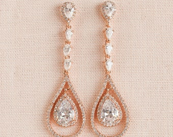 Chandelier Bridal Earrings,  Rose Gold Wedding jewelry, Long Gold Crystal Wedding Earrings, Amelia Crystal Earrings