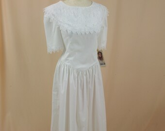80s Gunne Sax Dress * White Gunne Sax Dress * White Lace Dress * Boho Dress * Prairie Dress * Boho White Cotton Dress * Jessica McClintock