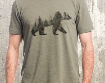Men's Bear T-Shirt - Bear and Forest Double Exposure Photograph