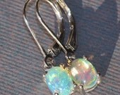 GENUINE Welo Opal Dangle Earrings,SOLID Ethiopian Opal Drop Earrings,Sterling Silver,Pinfire,Orange,Red,Green Flashes,Gift For Her,Natural