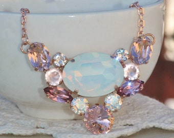 NEW Rose Gold White Opal Crystal Cluster Necklace,Multi Stone Statement Pendant Necklace,Layering,Swarovski Rhinestone,Bridal,Weddings,Opal