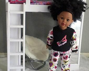 rock n roll pjs flannel knit 18 inch dolls  footed pjs