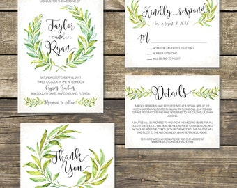 Printed Wedding Invitation - Botanical Watercolor Wedding - Greenery - Watercolor Green Laurel - Rustic Wedding - Printed Wedding Invitation