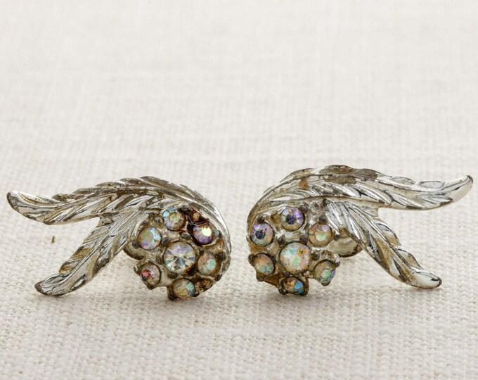 Vintage Rhinestone Earrings Clip On Flower AB Iridescent Leaves Clipons | Vtg 7B