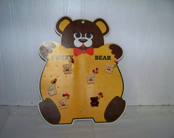 Vintage Flocked Teddy Bear Pins Party Balloons with Cardboard Holder