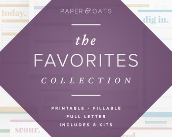 The Favorites Collection – 8 printable editable PDF planners – calendars, budget, cleaning, meal menu, health fitness, recipe, chore chart