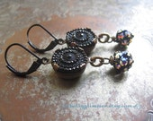 Antique Button Earrings / Sparkly Rhinestone Holiday Jewelry / OOAK