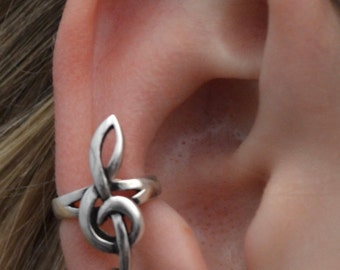 Treble Clef Ear Cuff - No Piercing - Middle Fit - Sterling Silver or 14k Gold Vermeil