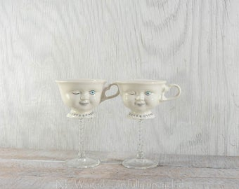 Vintage Bailey cups, Baileys winky cups, tea cup wine glass, teaup wine glass, vintage tea cups, repurposed, upcycled