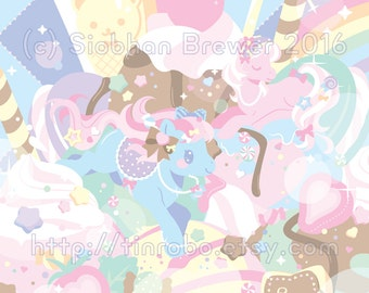 Ice Cream Ponies - A4 Shimmery Art Print