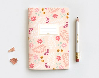 Autumn Gratitude Journal & Pencil Set, Midori Insert - Hand Drawn Fall Leaves Peach Floral Notebook - 80 Pages 3 Sizes Blank Lined Dot Grid
