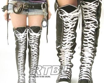RTBU Ultra Thigh-Hi TOP 35-EYE Sneakers Canvas boots