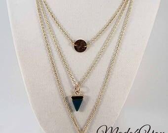 Triple Gold Dainty Necklace - Dainty Statement Necklace