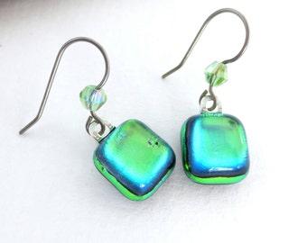 Titanium Sensitive Ears Dichroic Dangle Earrings Green Gold GLow with Crystal