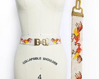 Vintage 1960s Belt - BEADED Rooster White Orange Yellow Elastic Boho Waist Belt 1970s - Small