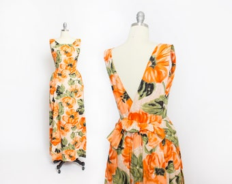 Vintage 1960s Dress - Orange Floral Cotton Boned Gown Party Prom 60s - Small S