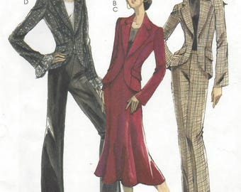 Womens Lined Rock Star Jacket, Pants and Skirt OOP McCalls Sewing Pattern M5192 Size 14 16 18 20 Bust 36 38 40 42 FF Princess Seam Jacket