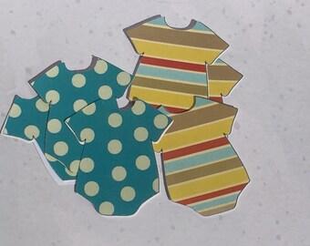 Onesie Stickers, Polka Dot Onesie Stickers, Baby Onesie Envelope Stickers, Baby Shower Stickers, Stripe Onesie Stickers,  Set of 32
