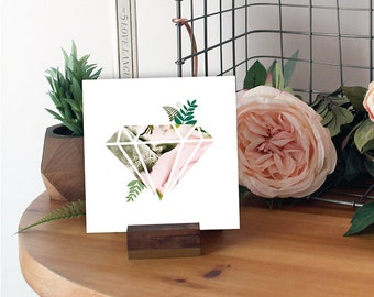 Geometric Art Print Blush Pink Diamond - Gift