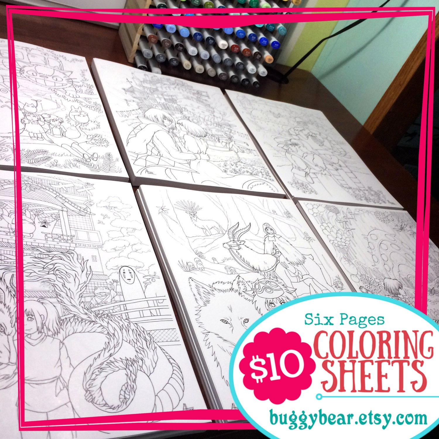 studio ghibli coloring book six sheet miyazaki coloring page