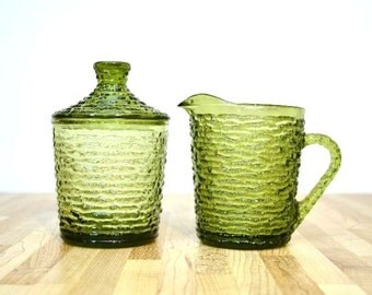Vintage Soreno Creamer and Sugar Bowl with Lid Avocado Green Glass 1970s Modern Glassware Set