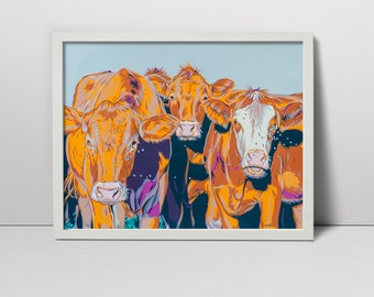 Herd of cowes serigraph  - cow art - cows print  - cows painting - cows screenprint  - cows grazing on a field - summer green meadow farm