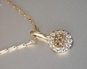 Diamond Disc Pendant in 18k Solid Gold . Solis Pendant . Diamond Necklace . Chocolate and White Diamonds . Handmade Fine Jewelry