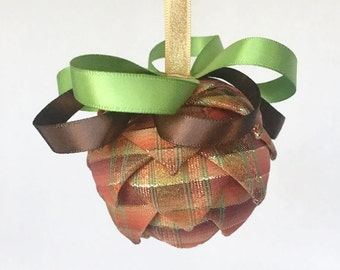 "2"" Fall Ribbon Ornament Thanksgiving Decoration Pierced Ornament Quilted Ornament Orange Decor Christmas Tree Ornament"