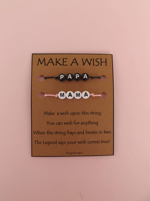 For MAMA and PAPA Anniversary or New Parents Double Wish String Bracelet Band Soul Mates Make a Wish Together Choose Color Cord