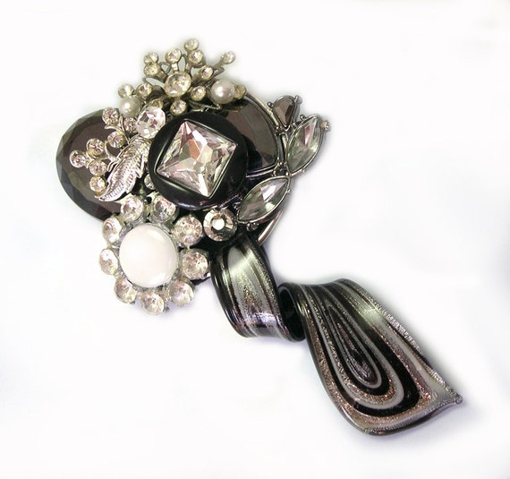 Unique One of a Kind OOAK Upcycled Recycled Repurposed Handmade Black and Silver Brooch, handmade black brooch, made with vintage jewelry