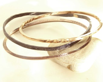Bronze Bangles, 3 Designs, 3 of Same or One, Custom Sized, Hammered, Polished Smooth, Brown Patina or Shiny, Twisted Traditional Metalwork