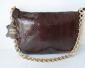 Vintage Snakeskin Purse|BLOOMINGDALE'S Snakeskin Handbags|Leather Brown Snakeskin Gold Chain Purse|Snakeskin Shoulder Bag | Mint Condition
