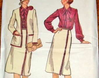 Vintage 1970s Sewing Pattern Vogue 9712 Cardigan Jacket, Tie Collar Blouse, Wrap Skirt, Womens Misses Size 10 Bust 32 Uncut Factory Folds
