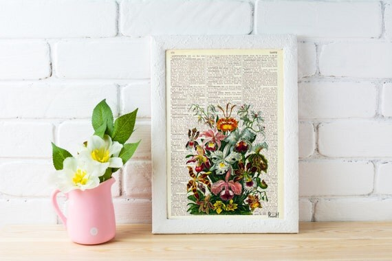 Wall art Orchids bouquet Book print Floral Bouquet Haeckel art print Wall decor Wall hanging.Gift Orchids flower BFL054
