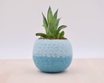 Succulent planter / Felt plant vase / felted bowl / Succulent pod / something blue /  gift for her / 7th anniversary gift