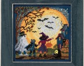 10% OFF Pre-order NEW Moonlit Treaters cross stitch kit INCLUDES floss beads perforated paper by Mill Hill Beads October Halloween
