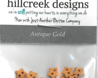 20-Micro Mini Antique Gold Star Button Pack by Hillcreek Designs Just Another Button Company Co. at thecottageneedle.com 4th of July USA