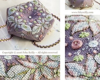 Wintry Blooms Pillow Pincushion Biscornu cross stitch patterns by Faby Reilly Designs at thecottageneedle.com
