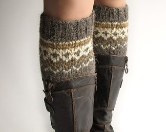 Size M - Hand Knitted Patterned Fair Isle Boot Cuffs - Boot Toppers, Leg Warmers - 100% Natural Wool